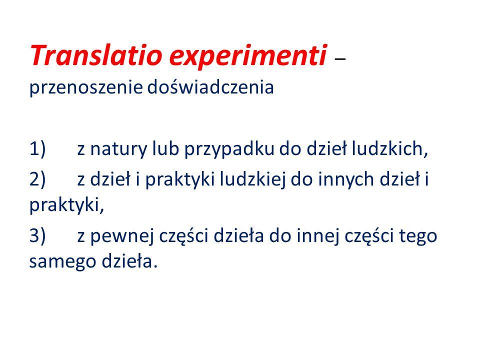 Translatio experimenti – przenoszenie doświadczenia 1)z natury lub przypadku do dzieł ludzkich, 2)z dzieł i praktyki ludzkiej do innych dzieł i praktyki, 3)z pewnej części dzieła do innej części tego samego dzieła.