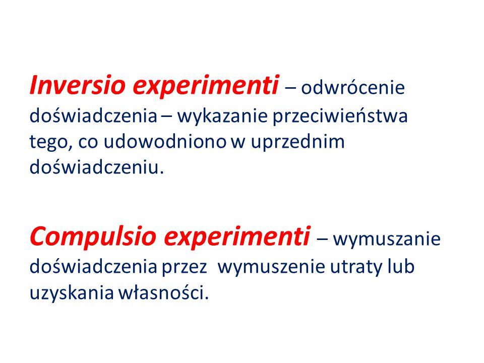 Inversio experimenti – odwrócenie doświadczenia – wykazanie przeciwieństwa tego, co udowodniono w uprzednim doświadczeniu.