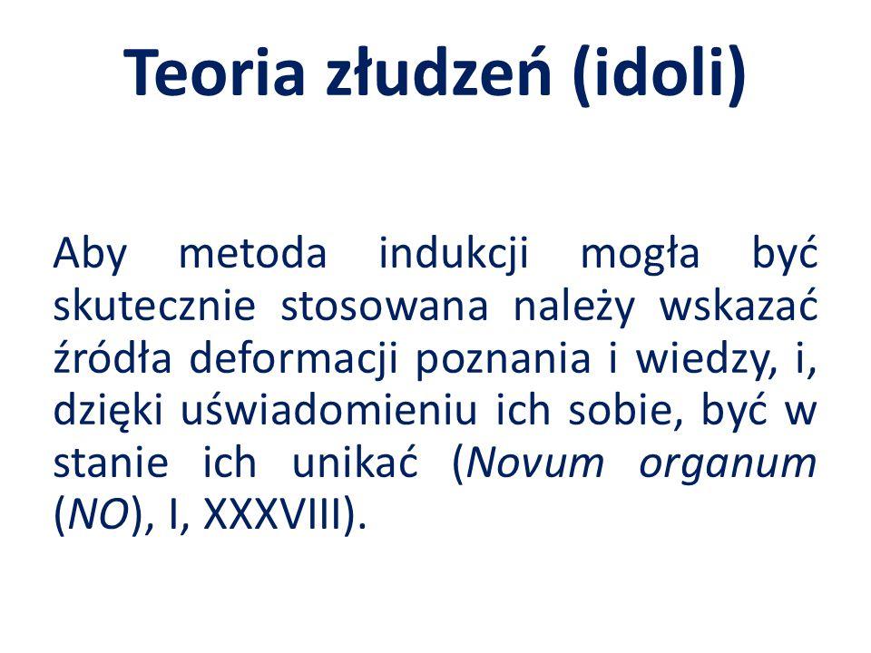 Teoria złudzeń (idoli) Aby metoda indukcji mogła być skutecznie stosowana należy wskazać źródła deformacji poznania i wiedzy, i, dzięki uświadomieniu ich sobie, być w stanie ich unikać (Novum organum (NO), I, XXXVIII).