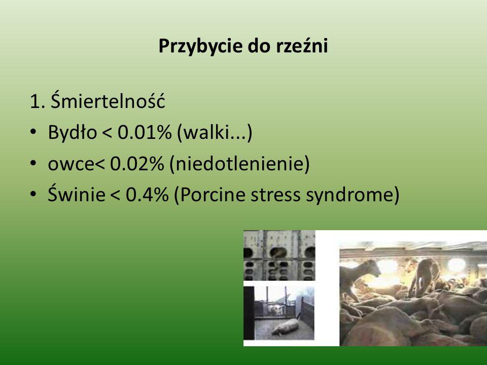 Przybycie do rzeźni 1. Śmiertelność Bydło < 0.01% (walki...) owce< 0.02% (niedotlenienie) Świnie < 0.4% (Porcine stress syndrome)