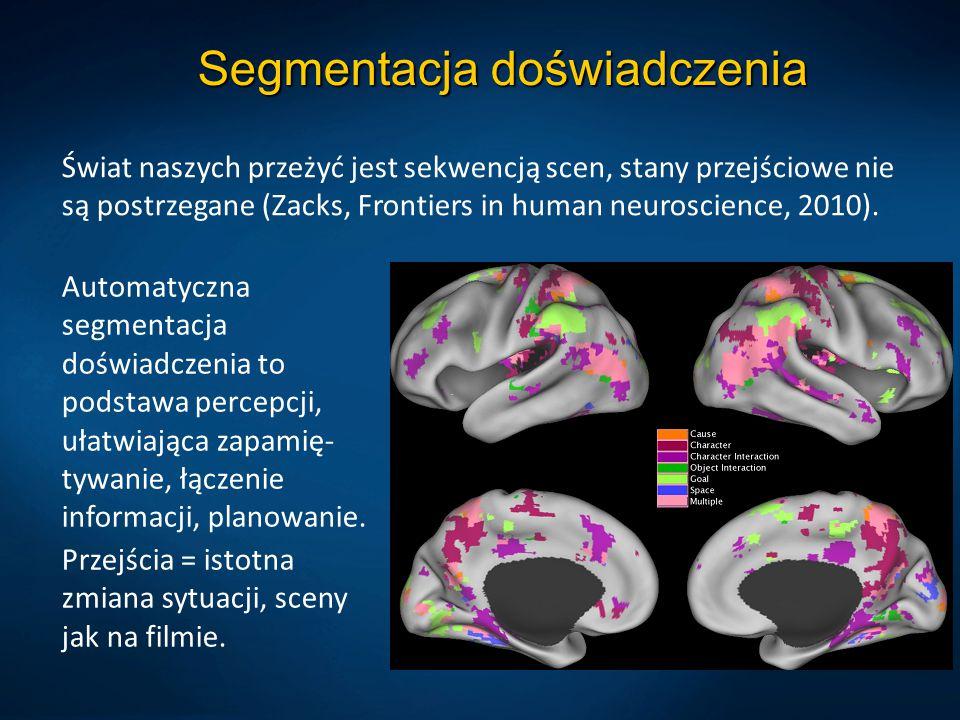 Segmentacja doświadczenia Świat naszych przeżyć jest sekwencją scen, stany przejściowe nie są postrzegane (Zacks, Frontiers in human neuroscience, 201