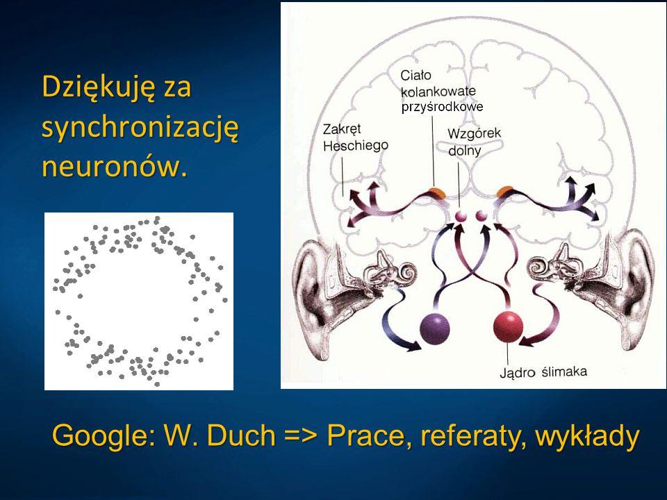 Dziękuję za synchronizację neuronów. Google: W. Duch => Prace, referaty, wykłady