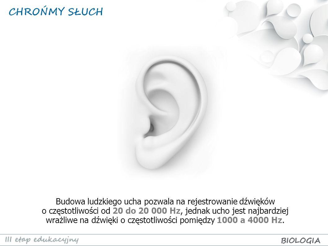 Budowa ludzkiego ucha pozwala na rejestrowanie dźwięków o częstotliwości od 20 do 20 000 Hz, jednak ucho jest najbardziej wrażliwe na dźwięki o często