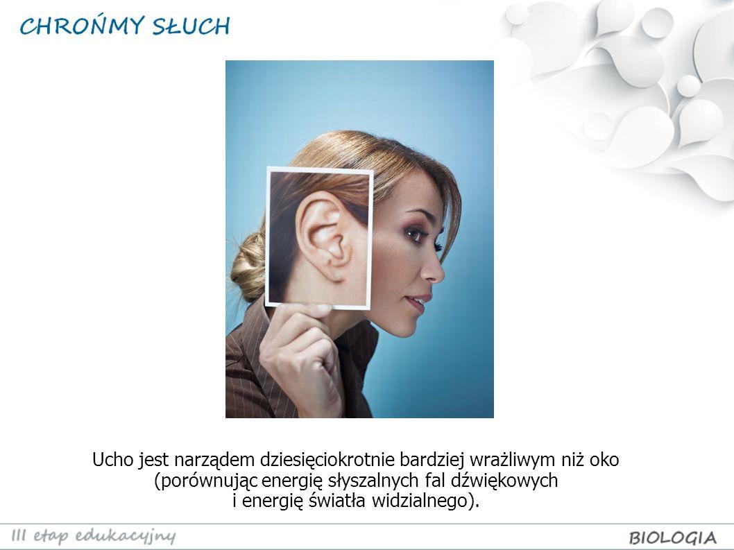 Ucho jest narządem dziesięciokrotnie bardziej wrażliwym niż oko (porównując energię słyszalnych fal dźwiękowych i energię światła widzialnego).