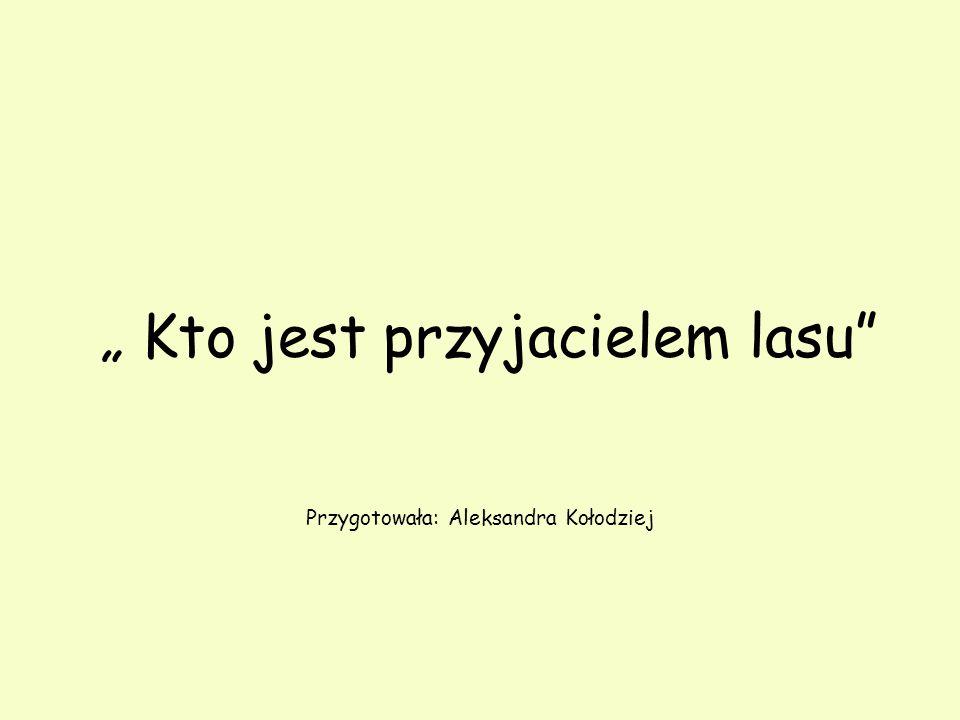 """"""" Kto jest przyjacielem lasu Przygotowała: Aleksandra Kołodziej"""