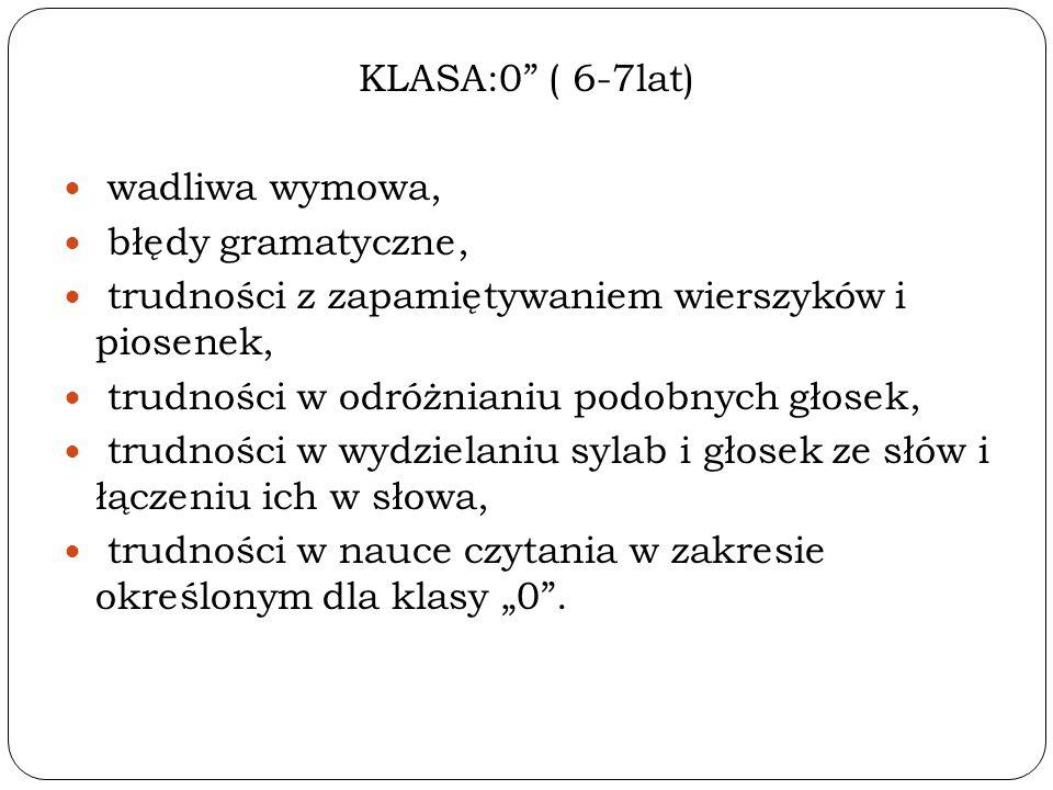 """KLASA:0 ( 6-7lat) wadliwa wymowa, błędy gramatyczne, trudności z zapamiętywaniem wierszyków i piosenek, trudności w odróżnianiu podobnych głosek, trudności w wydzielaniu sylab i głosek ze słów i łączeniu ich w słowa, trudności w nauce czytania w zakresie określonym dla klasy """"0 ."""