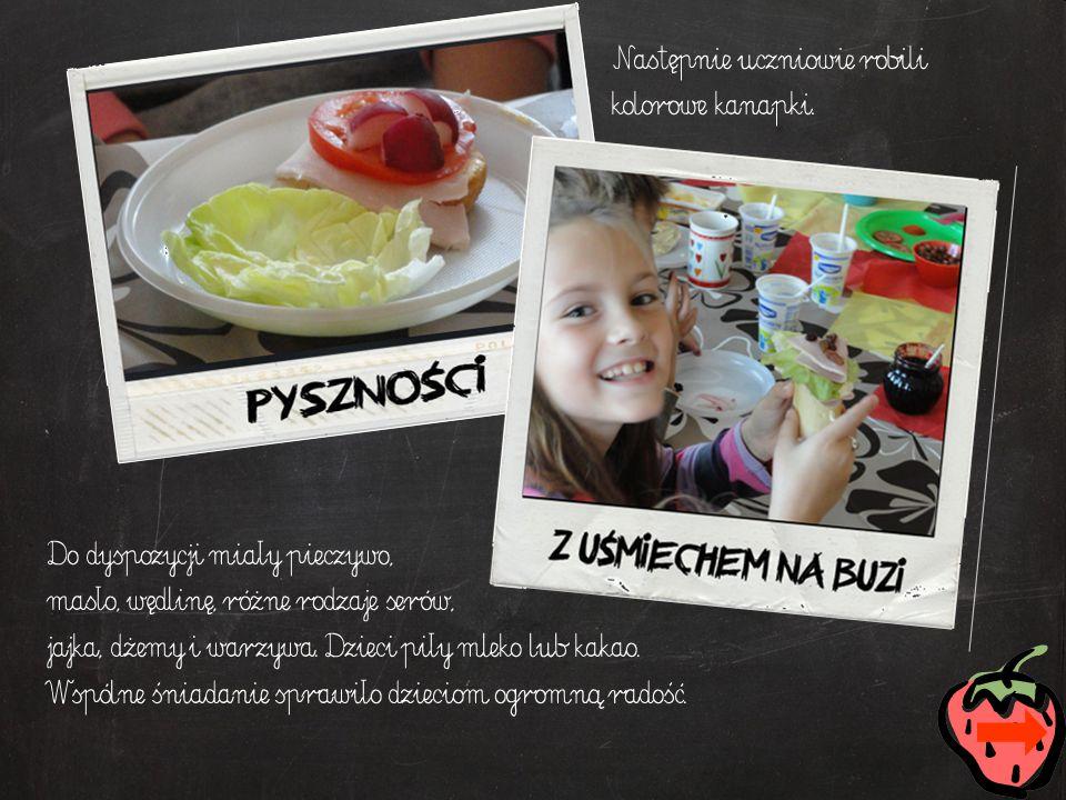 Następnie uczniowie robili kolorowe kanapki. Do dyspozycji miały pieczywo, masło, wędlinę, różne rodzaje serów, jajka, dżemy i warzywa. Dzieci piły ml