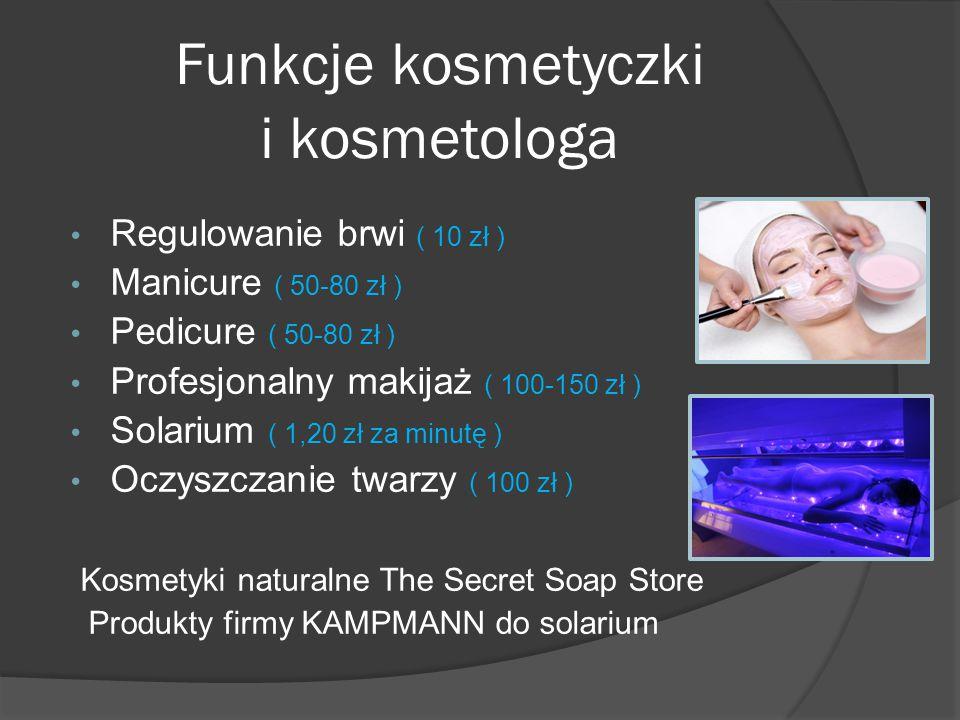 Funkcje kosmetyczki i kosmetologa Regulowanie brwi ( 10 zł ) Manicure ( 50-80 zł ) Pedicure ( 50-80 zł ) Profesjonalny makijaż ( 100-150 zł ) Solarium ( 1,20 zł za minutę ) Oczyszczanie twarzy ( 100 zł ) Kosmetyki naturalne The Secret Soap Store Produkty firmy KAMPMANN do solarium