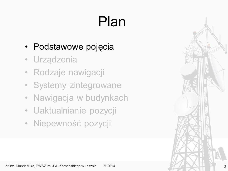 Plan Podstawowe pojęcia Urządzenia Rodzaje nawigacji Systemy zintegrowane Nawigacja w budynkach Uaktualnianie pozycji Niepewność pozycji © 2014 14 dr inż.