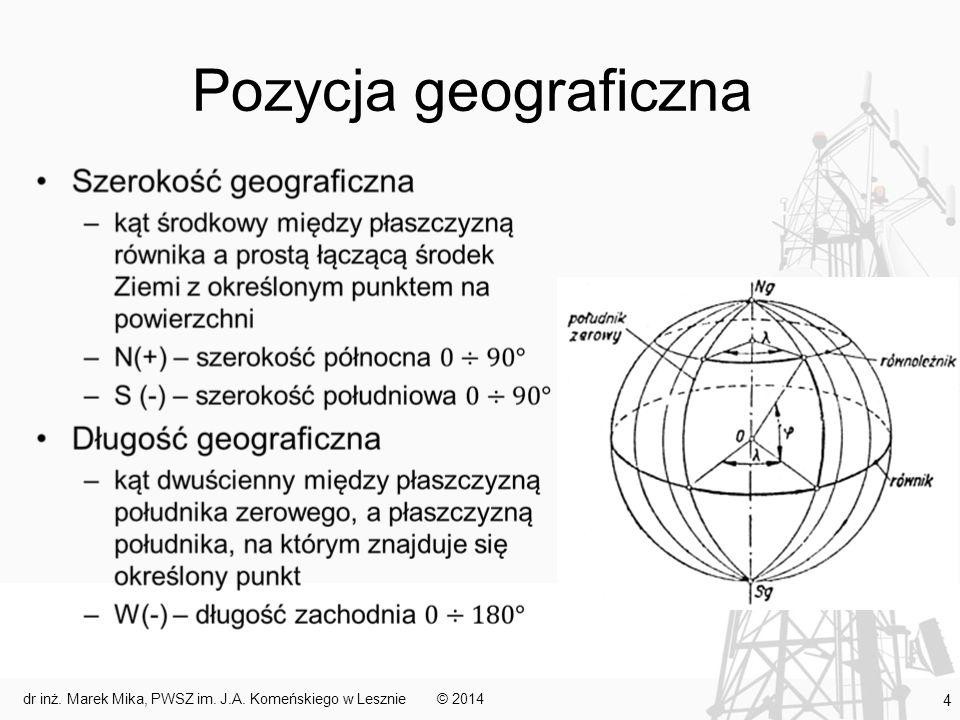 Pozycja obserwowana (2) Inny sposób wyznaczania pozycji obserwowanej polega na wyznaczeniu namiaru i odległości do obiektu o znanym położeniu (obiekt brzegowy, jednostka pływająca) Urządzenia: –namiar – radar lub namiernik burtowy –odległość – lornetka, stadimetr, radar © 2014dr inż.