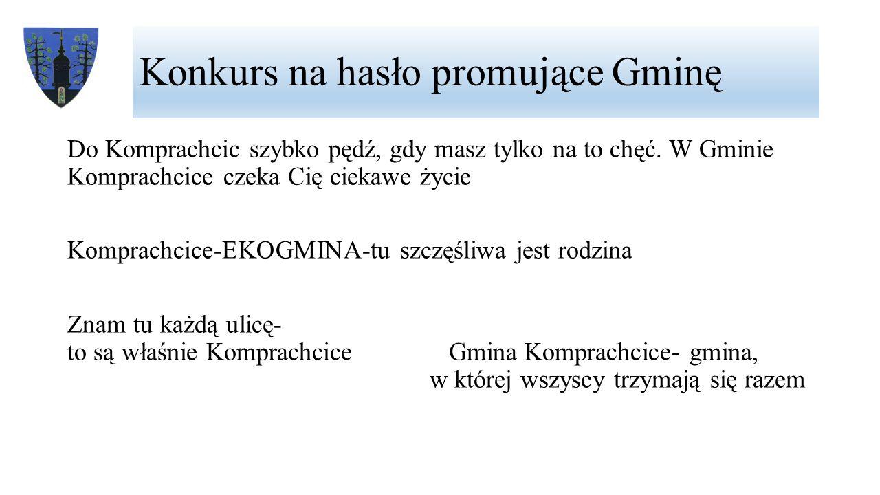 Konkurs na hasło promujące Gminę Komprachcice – gmina z przyszłością Zielono, kolorowo i przyjemnie Przyjedź, a zostaniesz na zawsze.