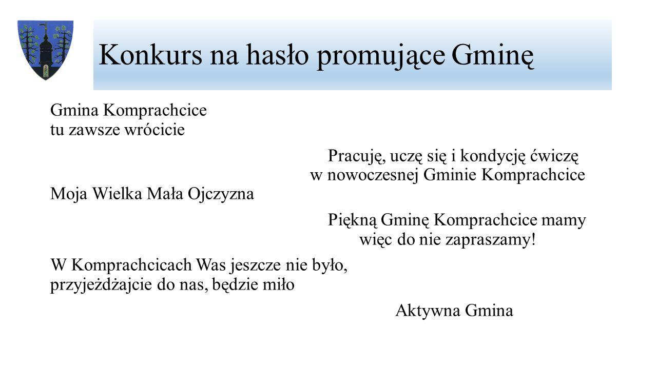 Konkurs na hasło promujące Gminę Gmina Komprachcice tu zawsze wrócicie Pracuję, uczę się i kondycję ćwiczę w nowoczesnej Gminie Komprachcice Moja Wiel
