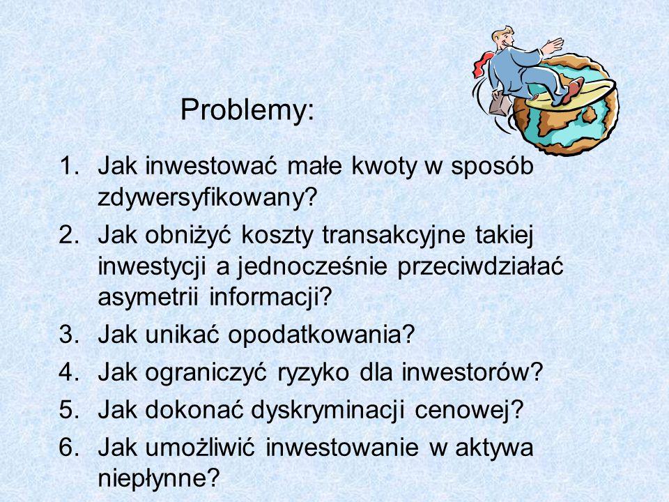 Problemy: 1.Jak inwestować małe kwoty w sposób zdywersyfikowany? 2.Jak obniżyć koszty transakcyjne takiej inwestycji a jednocześnie przeciwdziałać asy