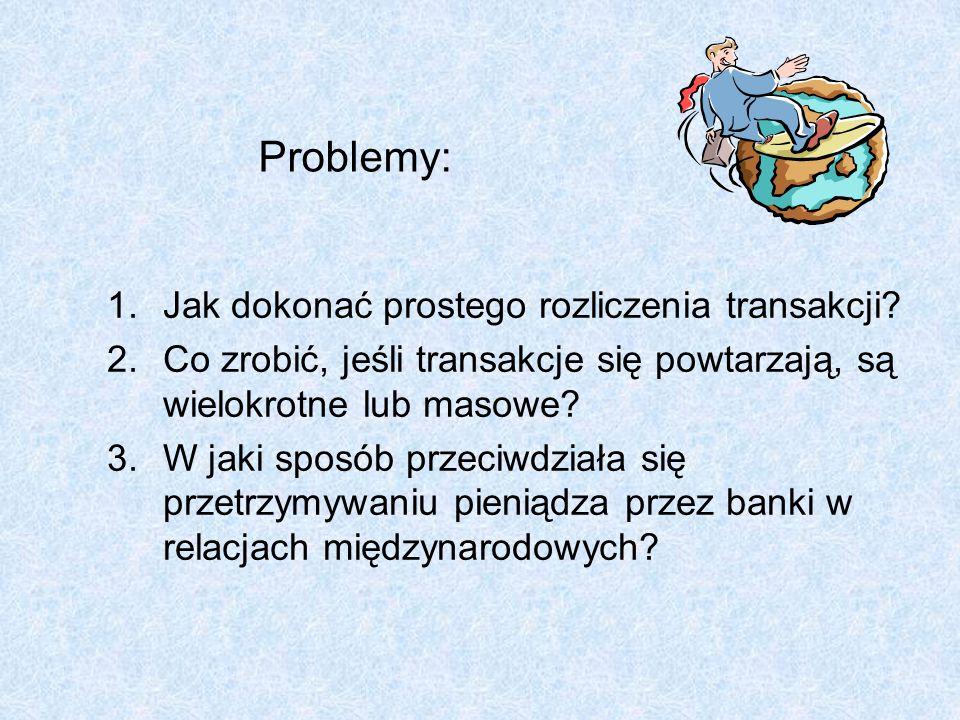 Problemy: 1.Jak dokonać prostego rozliczenia transakcji? 2.Co zrobić, jeśli transakcje się powtarzają, są wielokrotne lub masowe? 3.W jaki sposób prze