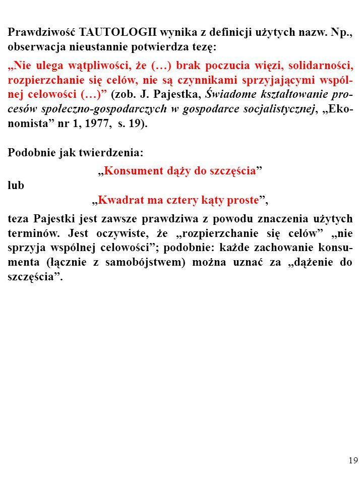 18 NIEOBALALNOŚĆ oznacza, że wypowiedzi nie da się zaprzeczyć z powodu cech języka, w którym ją wypowiedziano. NIEOBALALNOŚĆ może być skutkiem: TAUTOL