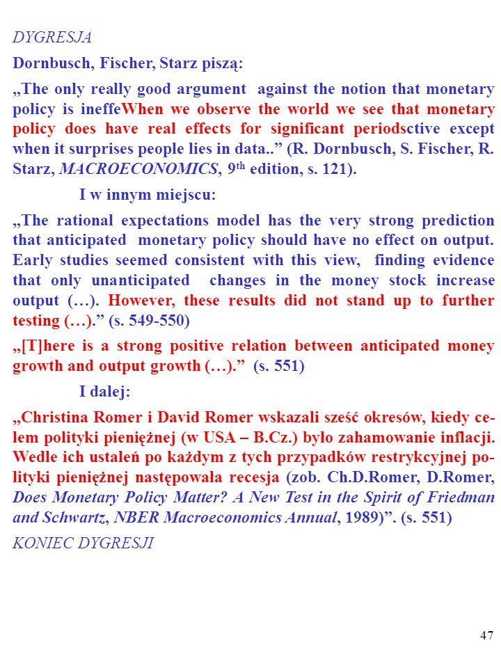 46 Jednak test empiryczny NIE potwierdza opinii o braku wpływu przewidywanych zmian polityki pieniężnej na pro- dukcję i bezrobocie i o nieistnieniu k