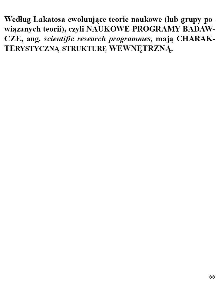 65 DYGRESJA Poglądy Lakatosa na rozwój nauki przypominają poglądy Thomasa Kuhna (1922–1996). Na przykład, PARADYGMATEM nazywa Kuhn podobny do Lakatosa