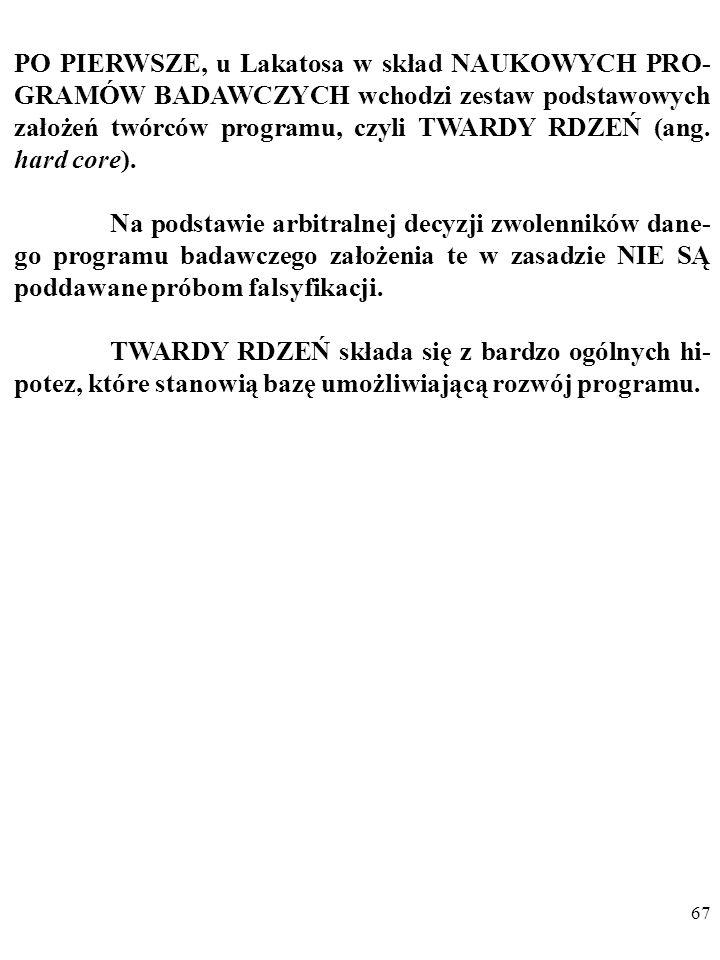 66 Według Lakatosa ewoluujące teorie naukowe (lub grupy po- wiązanych teorii), czyli NAUKOWE PROGRAMY BADAW- CZE, ang. scientific research programmes,