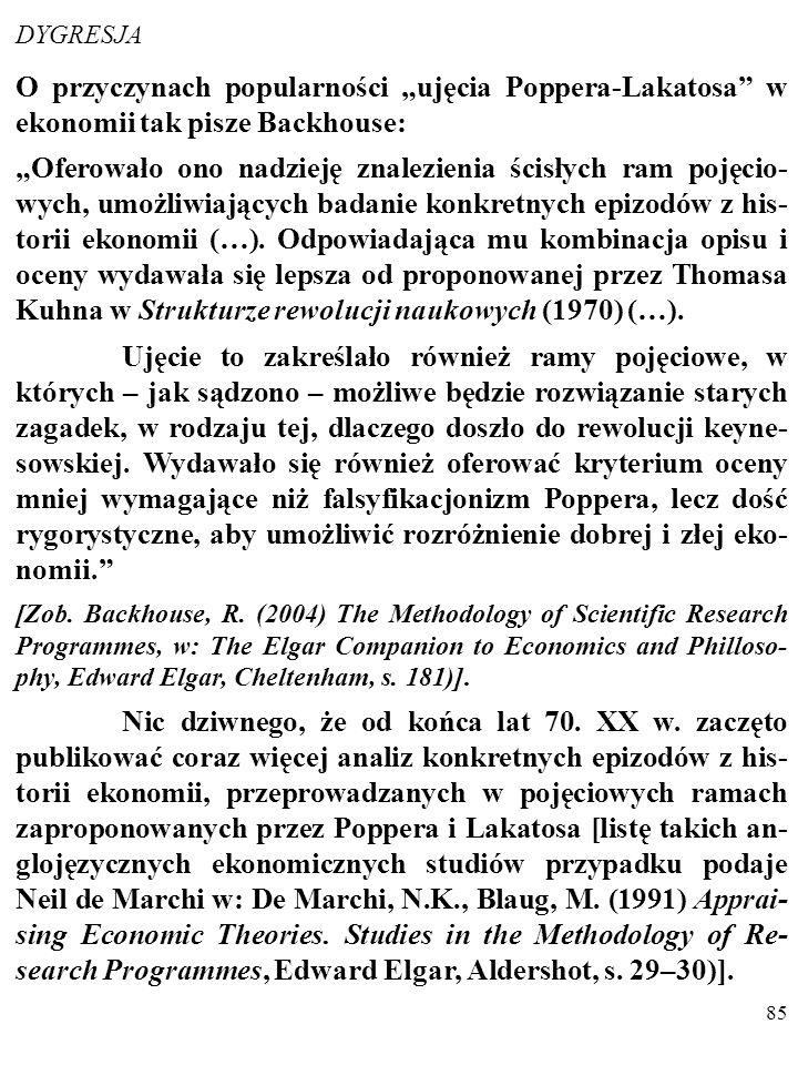 """84 Ocena teorii zależy od wielu dodatkowych kryteriów, a nie tylko od stopnia jej obserwacyjnego potwierdzenia (PAMIĘ- TASZ """"BRZYTWĘ OCKHAMA""""?). Na pr"""