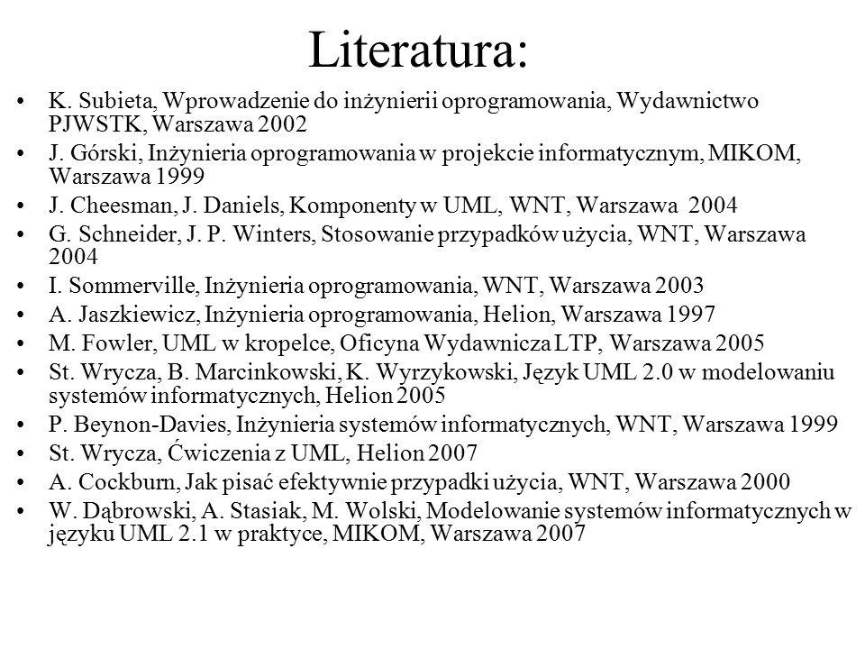 Literatura: K. Subieta, Wprowadzenie do inżynierii oprogramowania, Wydawnictwo PJWSTK, Warszawa 2002 J. Górski, Inżynieria oprogramowania w projekcie