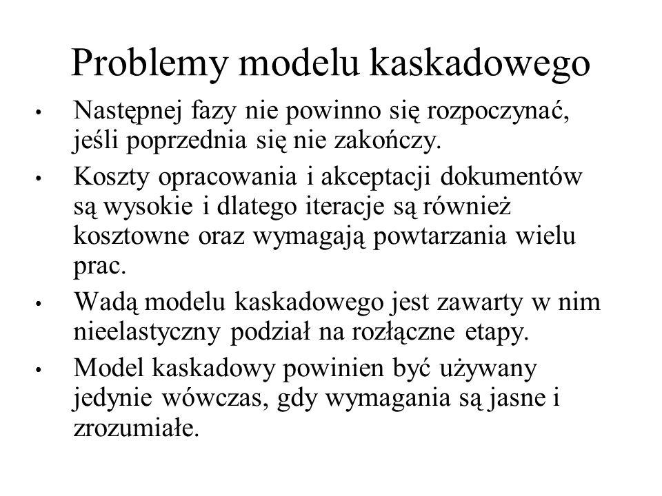 Problemy modelu kaskadowego Następnej fazy nie powinno się rozpoczynać, jeśli poprzednia się nie zakończy. Koszty opracowania i akceptacji dokumentów