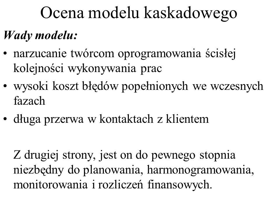 Ocena modelu kaskadowego Wady modelu: narzucanie twórcom oprogramowania ścisłej kolejności wykonywania prac wysoki koszt błędów popełnionych we wczesn
