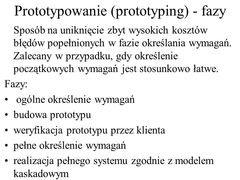 Prototypowanie (prototyping) - fazy Sposób na uniknięcie zbyt wysokich kosztów błędów popełnionych w fazie określania wymagań. Zalecany w przypadku, g