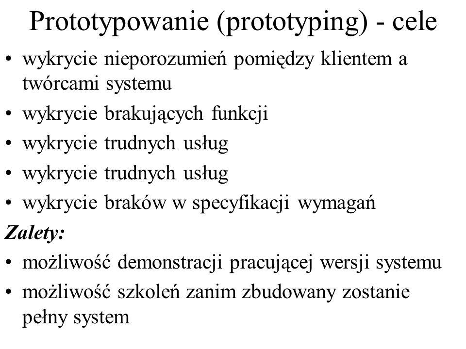 Prototypowanie (prototyping) - cele wykrycie nieporozumień pomiędzy klientem a twórcami systemu wykrycie brakujących funkcji wykrycie trudnych usług w