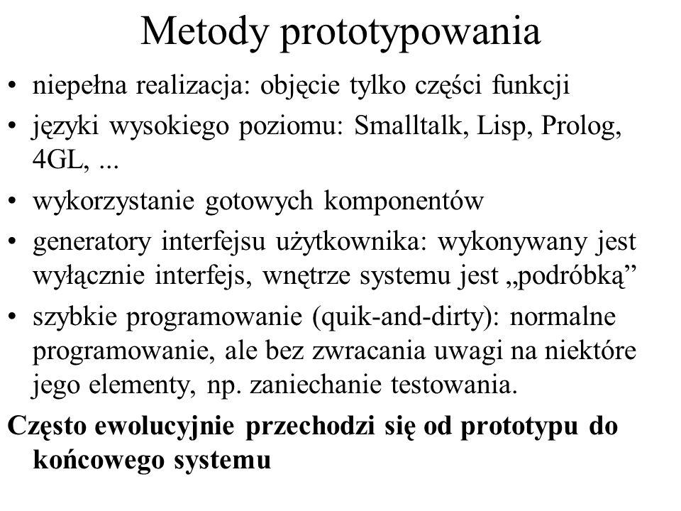 Metody prototypowania niepełna realizacja: objęcie tylko części funkcji języki wysokiego poziomu: Smalltalk, Lisp, Prolog, 4GL,... wykorzystanie gotow