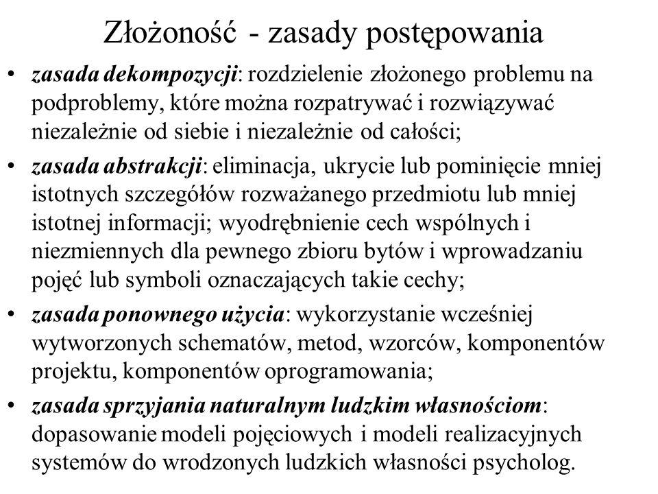 Złożoność - zasady postępowania zasada dekompozycji: rozdzielenie złożonego problemu na podproblemy, które można rozpatrywać i rozwiązywać niezależnie
