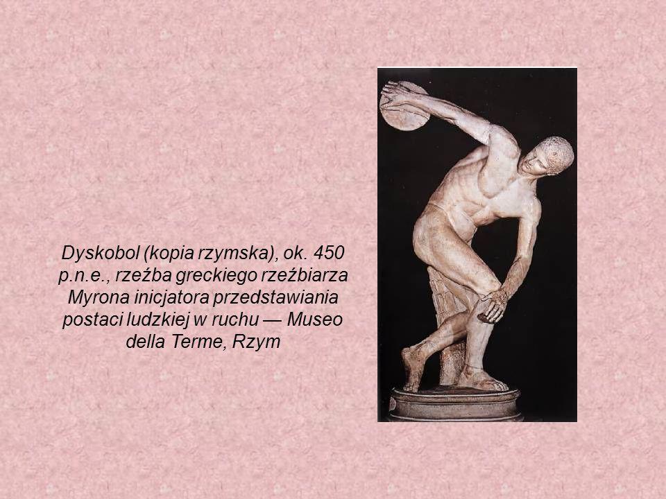 Dyskobol (kopia rzymska), ok. 450 p.n.e., rzeźba greckiego rzeźbiarza Myrona inicjatora przedstawiania postaci ludzkiej w ruchu — Museo della Terme, R