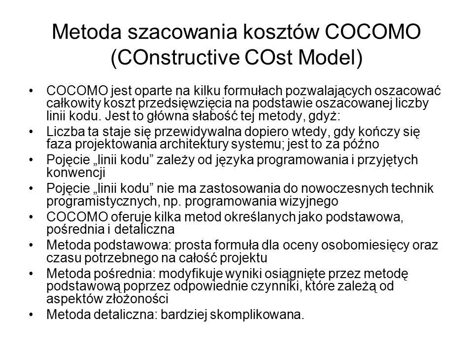 Metoda szacowania kosztów COCOMO (COnstructive COst Model) COCOMO jest oparte na kilku formułach pozwalających oszacować całkowity koszt przedsięwzięcia na podstawie oszacowanej liczby linii kodu.