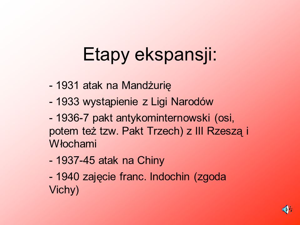 Etapy ekspansji: - 1931 atak na Mandżurię - 1933 wystąpienie z Ligi Narodów - 1936-7 pakt antykominternowski (osi, potem też tzw. Pakt Trzech) z III R