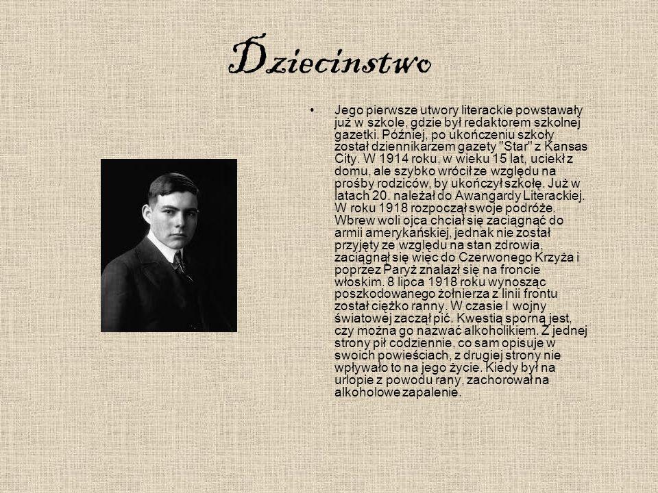"""Dorosłe życie Hemingwaya W czasie pobytu w Stanach szlifował swoje umiejętności jako dziennikarz, z czego połowę czasu poświęcał pracy dla dziennika """"Toronto Star ."""