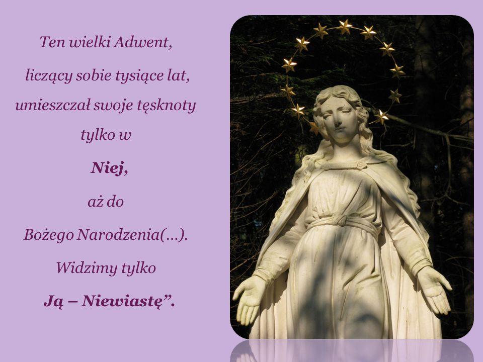 """Ten wielki Adwent, liczący sobie tysiące lat, umieszczał swoje tęsknoty tylko w Niej, aż do Bożego Narodzenia(…). Widzimy tylko Ją – Niewiastę""""."""