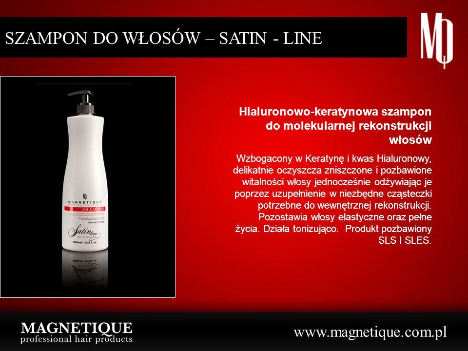 www.magnetique.com.pl SZAMPON DO WŁOSÓW – SATIN - LINE Hialuronowo-keratynowa szampon do molekularnej rekonstrukcji włosów Wzbogacony w Keratynę i kwa