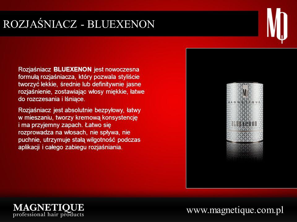 www.magnetique.com.pl ROZJAŚNIACZ - BLUEXENON Rozjaśniacz BLUEXENON jest nowoczesna formułą rozjaśniacza, który pozwala styliście tworzyć lekkie, średnie lub definitywnie jasne rozjaśnienie, zostawiając włosy miękkie, łatwe do rozczesania i lśniące.