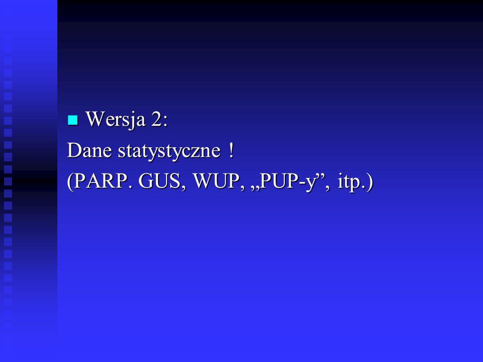 "Wersja 2: Wersja 2: Dane statystyczne ! (PARP. GUS, WUP, ""PUP-y , itp.)"
