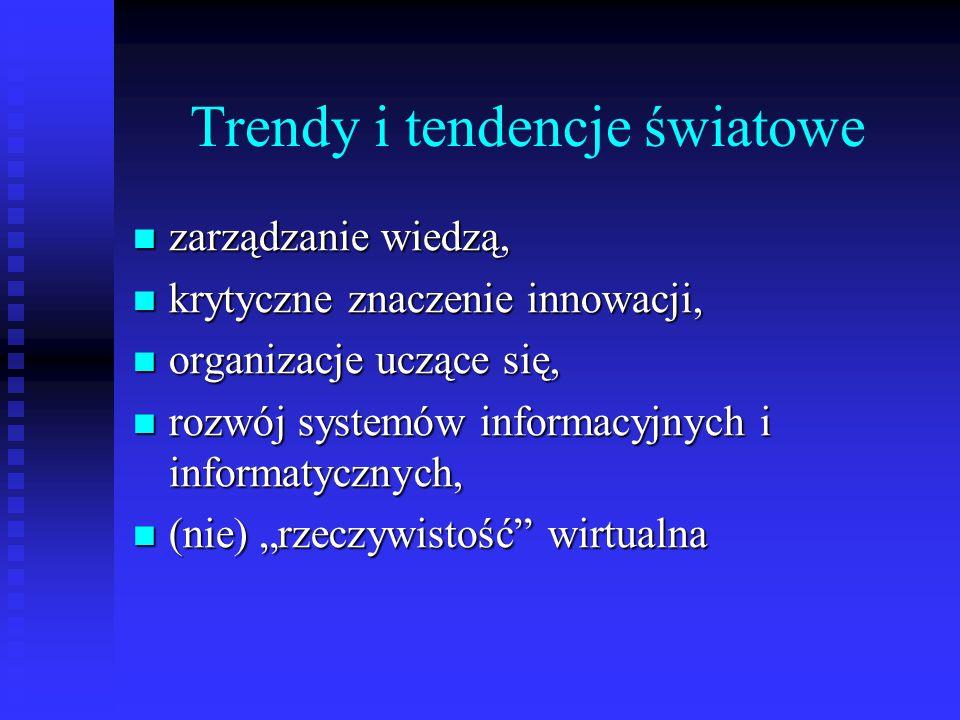 """Trendy i tendencje światowe zarządzanie wiedzą, zarządzanie wiedzą, krytyczne znaczenie innowacji, krytyczne znaczenie innowacji, organizacje uczące się, organizacje uczące się, rozwój systemów informacyjnych i informatycznych, rozwój systemów informacyjnych i informatycznych, (nie) """"rzeczywistość wirtualna (nie) """"rzeczywistość wirtualna"""