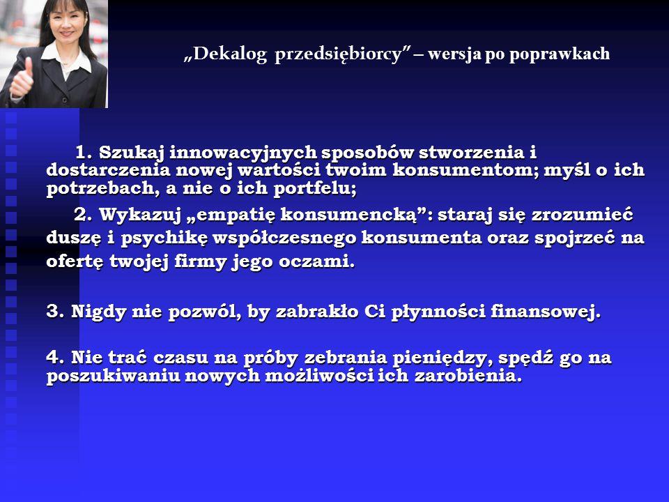 """""""Dekalog przedsiębiorcy – wersja po poprawkach 1."""