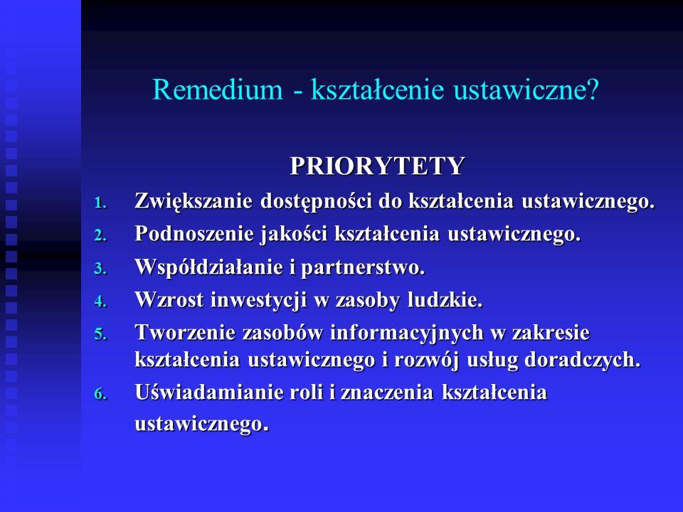 Remedium - kształcenie ustawiczne. PRIORYTETY 1.
