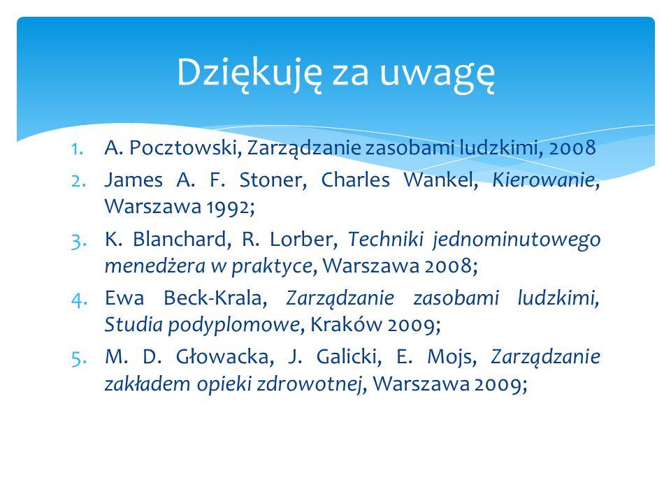 1.A. Pocztowski, Zarządzanie zasobami ludzkimi, 2008 2.James A. F. Stoner, Charles Wankel, Kierowanie, Warszawa 1992; 3.K. Blanchard, R. Lorber, Techn