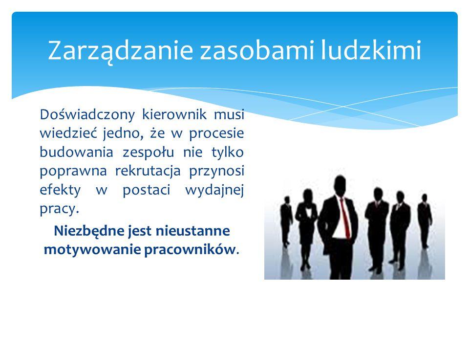 Zarządzanie zasobami ludzkimi Doświadczony kierownik musi wiedzieć jedno, że w procesie budowania zespołu nie tylko poprawna rekrutacja przynosi efekt