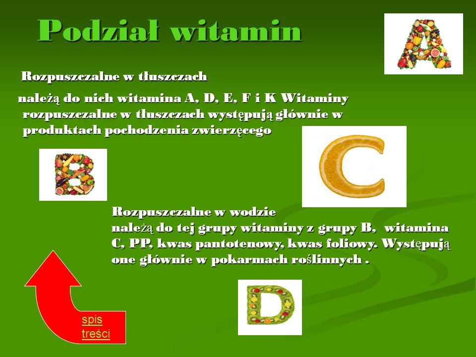 Podział witamin Rozpuszczalne w tłuszczach Rozpuszczalne w tłuszczach nale żą do nich witamina A, D, E, F i K Witaminy rozpuszczalne w tłuszczach wyst