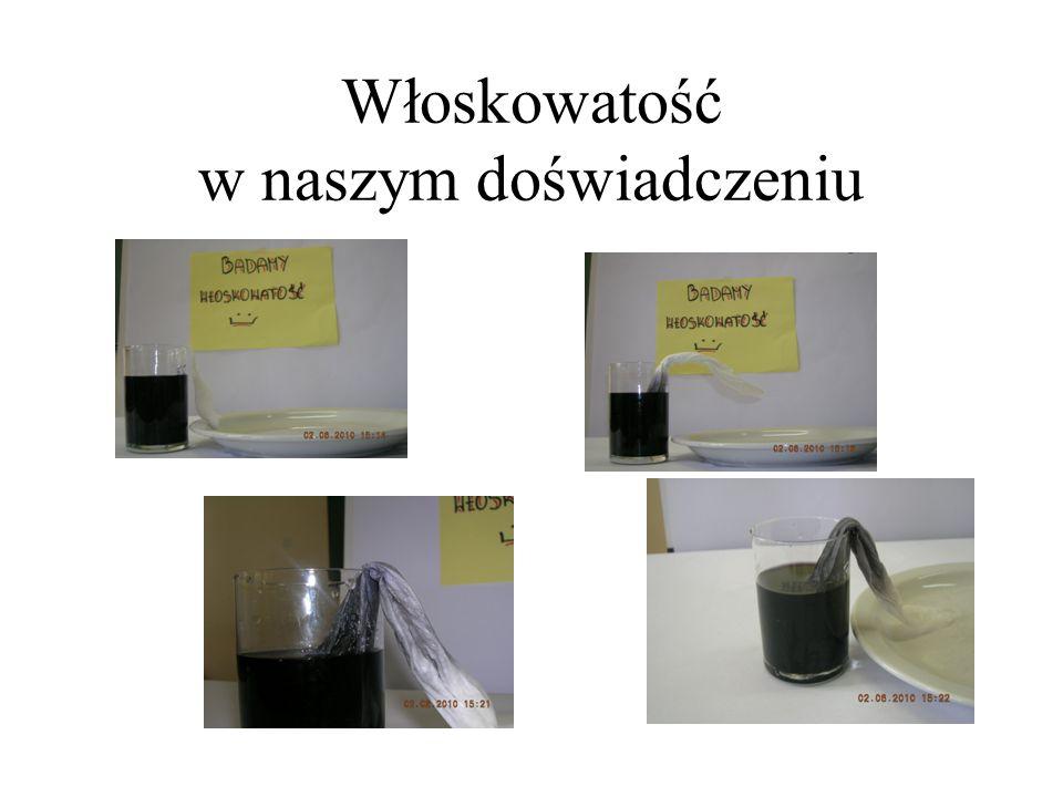 Włoskowatość Innym zjawiskiem będącym wynikiem oddziaływań międzycząsteczkowych jest włoskowatość. Dzięki temu zjawisku, w roślinach, odbywa się trans