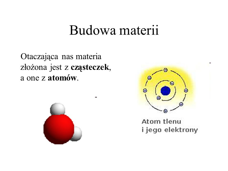 Budowa materii Otaczająca nas materia złożona jest z cząsteczek, a one z atomów.
