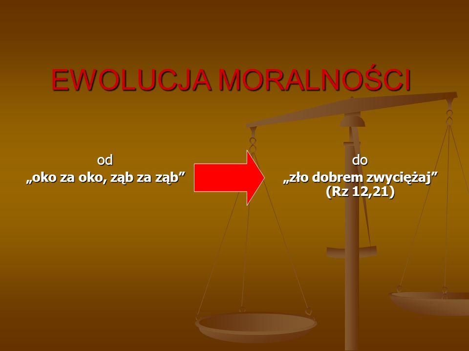 """EWOLUCJA MORALNOŚCI od """"oko za oko, ząb za ząb"""" do """"zło dobrem zwyciężaj"""" (Rz 12,21)"""