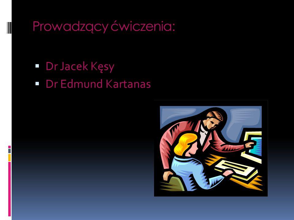 Prowadzący ćwiczenia:  Dr Jacek Kęsy  Dr Edmund Kartanas