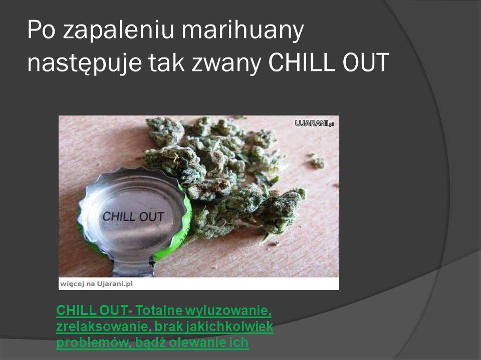 Po zapaleniu marihuany następuje tak zwany CHILL OUT CHILL OUT- Totalne wyluzowanie, zrelaksowanie, brak jakichkolwiek problemów, bądź olewanie ich