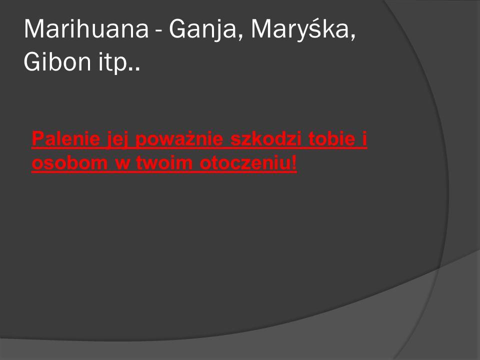 Marihuana - Ganja, Maryśka, Gibon itp.. Palenie jej poważnie szkodzi tobie i osobom w twoim otoczeniu!
